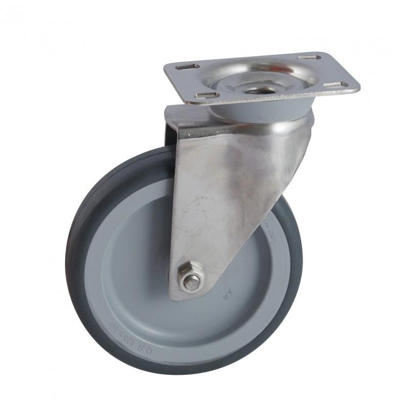 roulette inox pivotante platine santo gris diametre 60 al 40 kg atelier de la vall e du loir. Black Bedroom Furniture Sets. Home Design Ideas