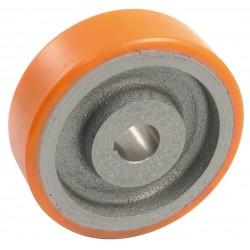 Roue Corps Fonte Bandage Polyurethane Diametre 125 x 35, Alesage Diametre 15/20 Avec Rainure De Clavette Normalisee, Charge 350