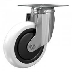 Roulette Pivotante A Platine Carree, Roue Nylon Bandage Nylon Diamètre 075, Roulements A Billes, Charge 80 Kg (17613)