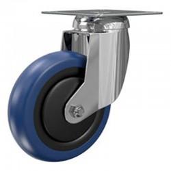 Roulette Pivotante A Platine Carree, Roue Nylon Bandage Polyurethane Diamètre  075, Roulements A Billes, Charge 80 Kg (17596)