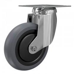 Roulette Pivotante A Platine Carree, Roue Nylon Bandage Nylon Diamètre 125, Roulements A Billes, Charge 110 Kg (17625)